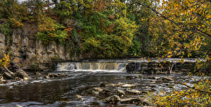 Обои Англия Парк Осень Водопады Камни Ветки HDRI Richmond Природа