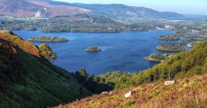 Фотографии Англия Река Леса Остров Холмы Cumbria Природа