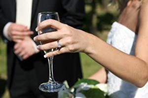 Фотографии Пальцы Крупным планом Рука Ювелирное кольцо Бокалы
