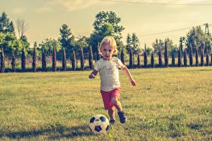 Картинка Футбол Мальчики Мяч Трава Ребёнок