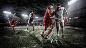 Обои Футбол Мужчины Мяч Униформа Газон Спорт