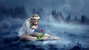 Фотография Леса Розы Туман Блондинка Сидящие Ноги Фантастика 3D_Графика Девушки