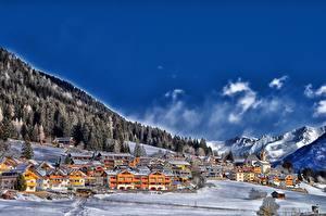 Фотография Франция Небо Горы Леса Зима Облака Деревня Снег Colle Di Fuori Природа