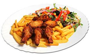Картинки Картофель фри Овощи Курица запеченная Вторые блюда Белый фон Тарелка Пища