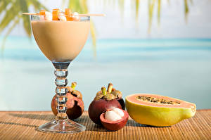 Картинка Фрукты Смузи Бокалы Mangosteen Papaya Пища