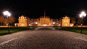 Обои Германия Дома Дороги Уличные фонари Ночь Muenster Города