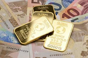 Картинки Золото Деньги Купюры Евро Слитки