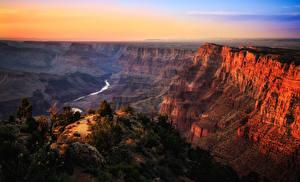 Фото Гранд-Каньон парк США Парки Горы Рассветы и закаты Речка Каньон Природа