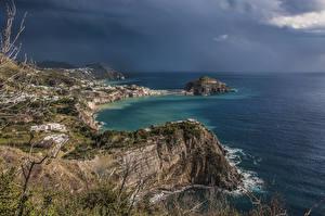 Обои Италия Берег Море Залив Утес Panza Природа