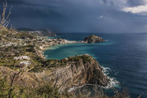Обои Италия Берег Море Залив Утес Panza