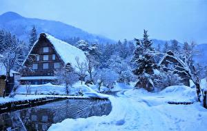 Фотографии Япония Зима Здания Снег Деревня Shirakawa Города