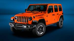 Картинки Джип Оранжевый 2018 Wrangler Jeep Unlimited Rubicon Авто