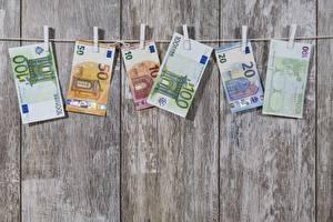 Обои Деньги Банкноты Евро Доски Прищепки