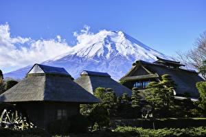 Обои Фудзияма Здания Япония Вулкан Природа
