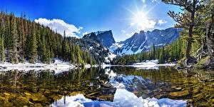 Фото Горы Леса Пейзаж Озеро Солнце