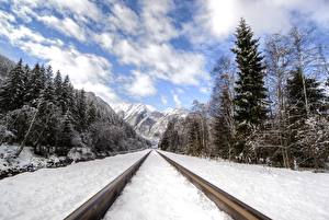 Фотография Горы Леса Зима Железные дороги Снег Рельсы Природа