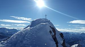 Обои Горы Небо Утес Снег Солнце Крест
