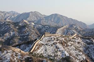 Обои Китай Гора Зима Великая Китайская стена Снеге