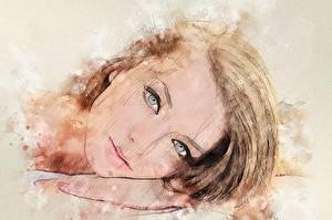 Картинки Рисованные Глаза Шатенки Смотрят Волос Девушки