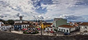 Фотографии Португалия Дома Улица Городская площадь Уличные фонари Ribeira Grande Sao Miguel Azores Города