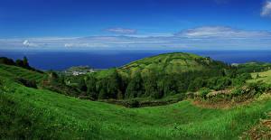 Обои Португалия Пейзаж Побережье Холмы Трава Sao Miguel Azores