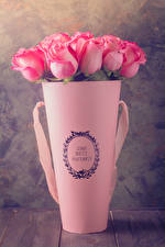 Фото Розы Вазе Розовых Цветы
