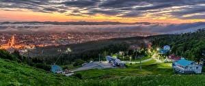 Фото Россия Здания Вечер Тумане Sakhalin город