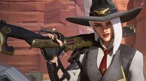 Фотография Ружьё Overwatch Шляпа Ashe компьютерная игра 3D_Графика Девушки
