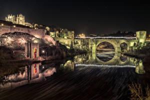Фотографии Испания Толедо Крепость Речка Мост Ночные город