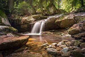 Обои Камень Водопады Ручей Природа