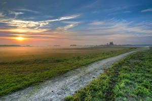 Фотографии Рассвет и закат Поля Дороги Пейзаж Трава Туман HDRI Природа