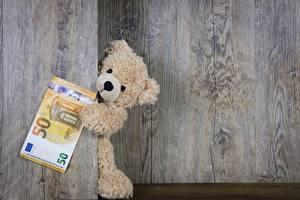 Фотография Плюшевый мишка Евро Деньги Банкноты Доски
