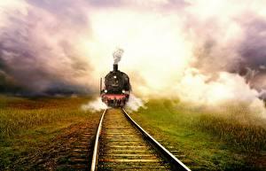Картинка Поезда Железные дороги Рельсы Тумане Трава
