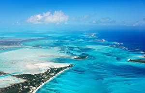 Фото Тропики Пейзаж Море Берег Сверху Bahamas beach Природа