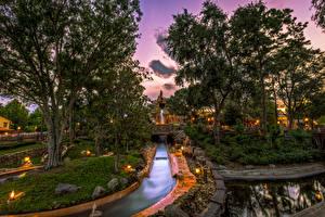 Картинка Штаты Диснейленд Парк Вечер Калифорния Анахайм Дизайна HDR Деревьев Водный канал Природа