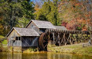 Фото Америка Леса Осень Водяная мельница Mabry Mill