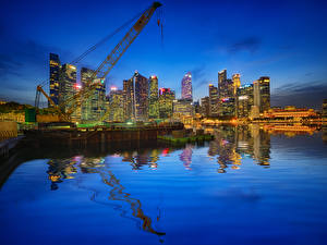 Фотографии США Дома Вечер Пирсы Чикаго город Города