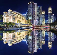Обои США Дома Озеро Сингапур Отражении В ночи Залив The Fullerton Hotel Города