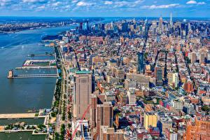 Фотография Штаты Дома Пристань Нью-Йорк Мегаполиса Города