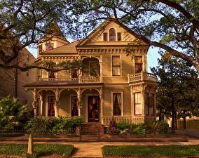Фото США Здания Особняк Дизайн Ограда Ветки New Orleans