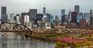 Фотографии Штаты Здания Речка Мосты Чикаго город Города