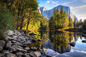 Фотографии Штаты Горы Озеро Камень Парки Осенние Калифорния Йосемити Деревья Природа