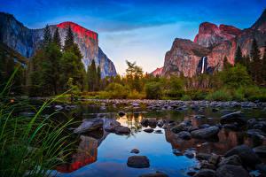 Фотографии Штаты Парки Горы Озеро Камень Леса Калифорния Йосемити Утес Природа