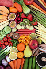 Фотография Овощи Фрукты Яблоки Помидоры Груши Цитрусовые Клубника Еда