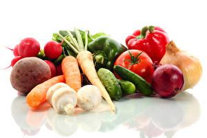 Картинка Овощи Помидоры Морковь Огурцы Лук репчатый Редис Белый фон