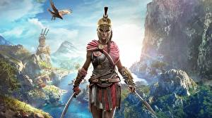 Обои Воин Assassin's Creed Odyssey Шлем Игры Девушки