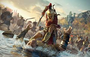 Фотографии Воители Мужчины Assassin's Creed Odyssey Шлем Сражение Игры