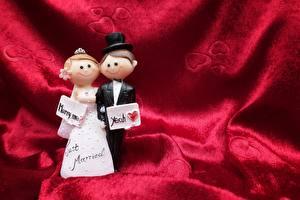Фотография Свадебные Женихом Невеста Шляпы Английский Куклы