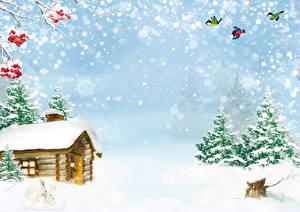 Фото Зимние Дома Птицы Снег Ель Снежинки Природа