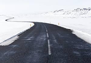 Фото Зимние Дороги Снег Асфальта